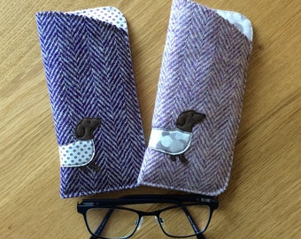 ea5303648861 Harris tweed Glasses case Dachshund glasses case Doxie glasses case Sausage  dog soft glasses case Tweed glasses case Scottish gift