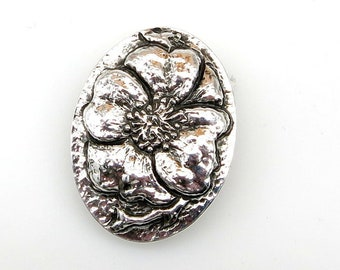 Repousse' Brooch Sterling Sliver Hand Fabricated Wild Rose Flower Engraved Hand Made Jewelry