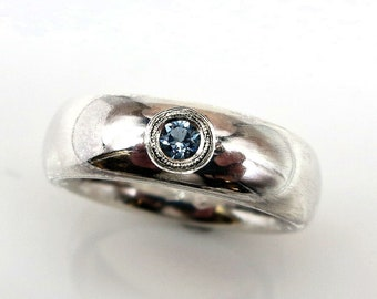 Handmade Aquamarine Set Sterling Silver Comfort Fit Band Ring Size 5.25