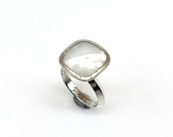 Mother of Pearl Top Cut Cushion  Set in a Sterling Silver Ring