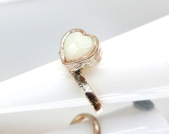 14K Pink Gold Genuine White Opal Florentine Finish Hand Engraved Heart Shaped Ring Stackable