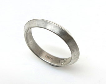 Men's Chevron Ring Handmade  Hand Formed 925 Sterling Silver Matte or Polished Finish Hand Formed