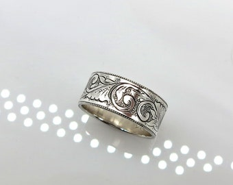 Hand Engraved 925 Sterling SIlver RIng Band Size 6.75