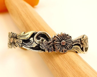 Rose Gold, Green Gold, Yellow Gold, 14 Karat, Sterling Silver, Hand Fabricated/Hand Engraved, Sculpted Cuff Bracelet w/ Flowers Scroll Work