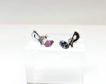 Spinel set Sterling SIlver Musical Note Earrings Studs