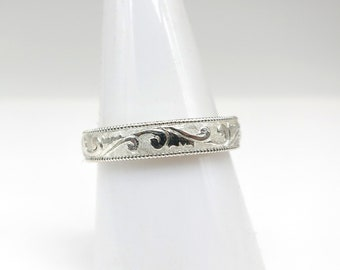 Hand Sculpted 4mm Band in Platinum, Gold or Sterling Silver Eternity Scroll price is for Sterling contact me for a quote in Gold or Platinum