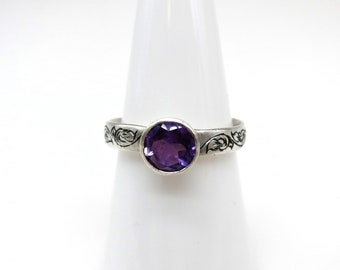 Amethyst in Sterling Silver Hand Engraved  Frosted Finish Band Bezel Set