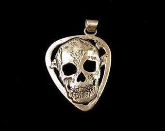 Sterling Silver Skull w / 24karat Gold Tooth Guitar Pick Pendant Hand Fabricated Carved Engraved Jewelry 38mm x 25mm