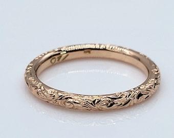 Handmade Peach Gold Hand Engraved / Hand Carved Band Ring 14 Karat