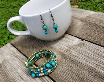 Green and blue wrap memory wire bracelet and earring set