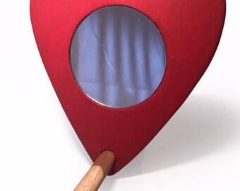Heart shaped Pet bird mirror with perch.