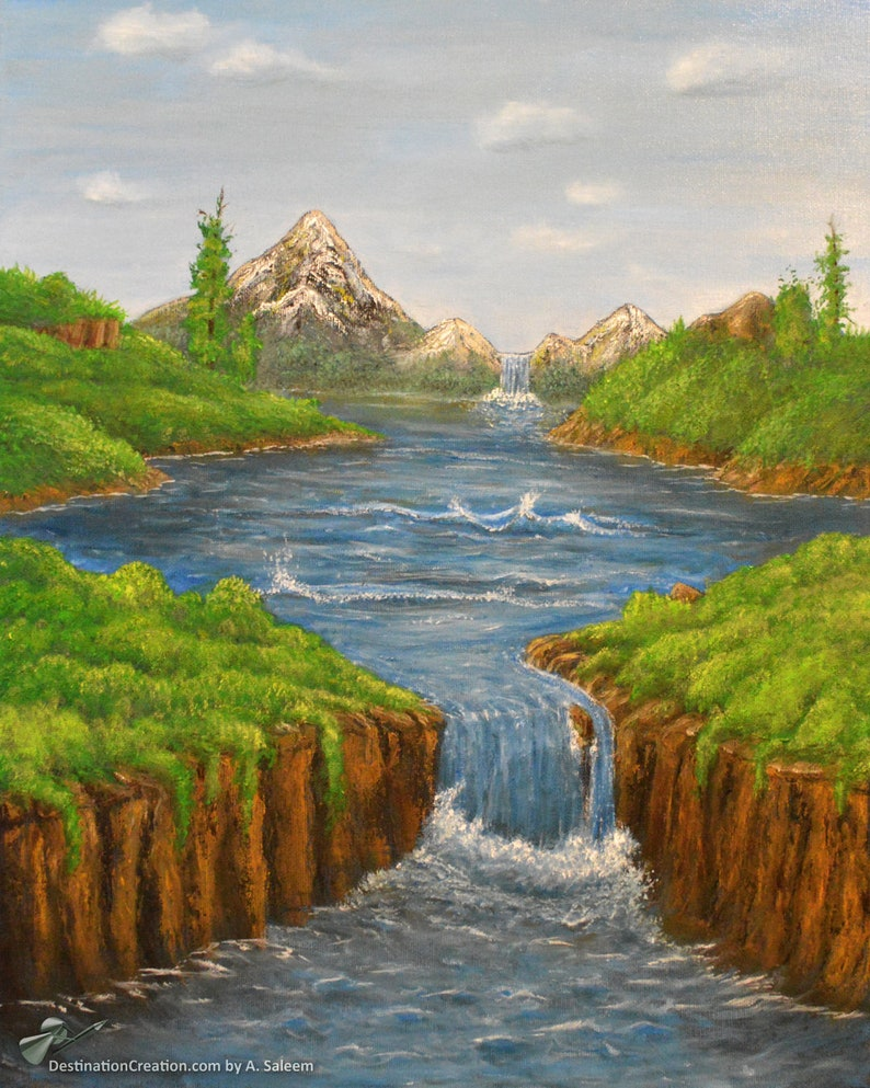 Landscape Wall Art  Waterscape Painting  Mountain Painting  image 0