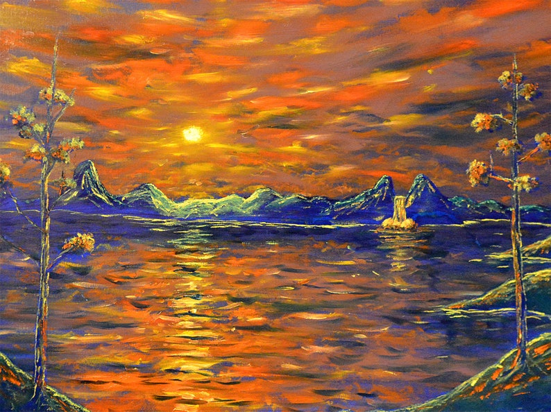 Landscape Wall Art  Impressionist  Painting  Water  Nature image 0