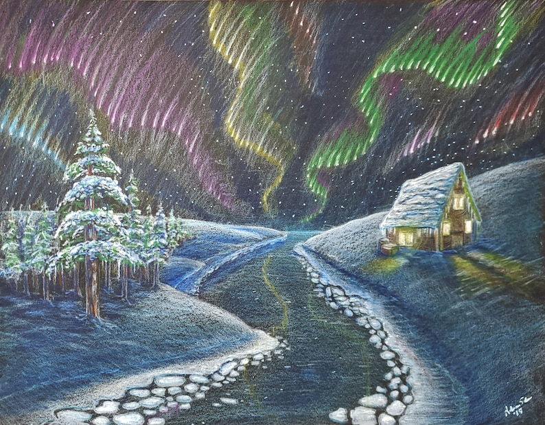 Aurora Borealis Landscape Wall Art Northern Lights Winter image 0