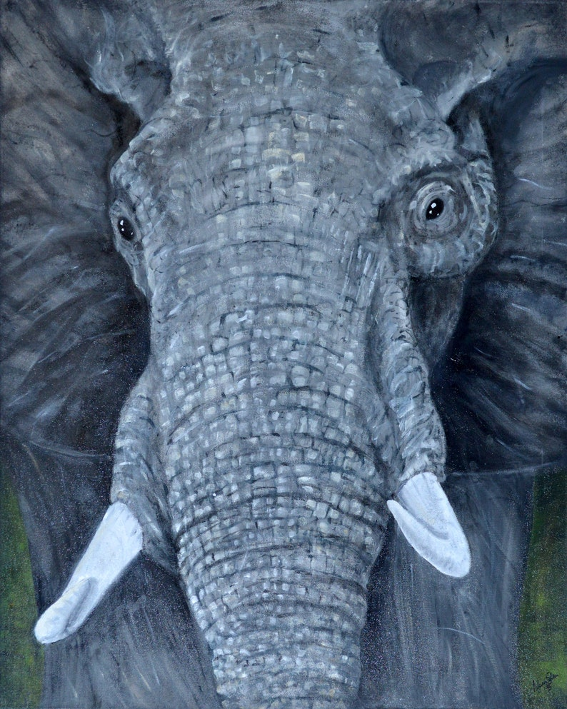 Large  Wall  Art  Portrait of a Wise  African Elephant  image 0