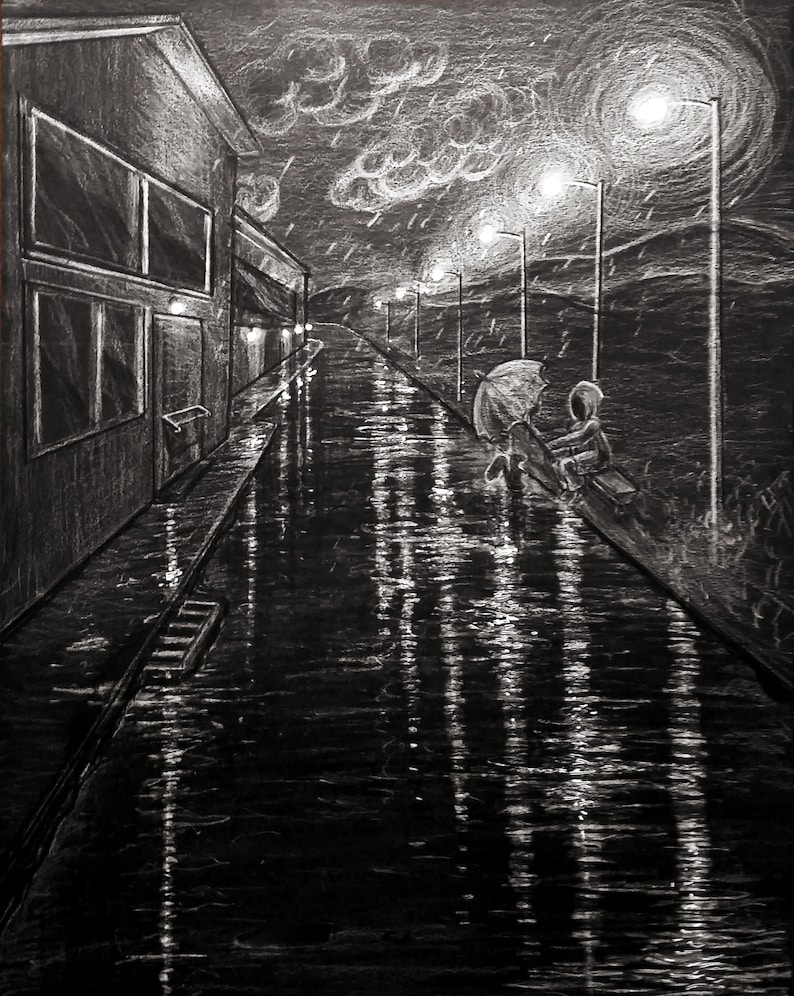 Black Wall Art  Black and White  Rainy Night image 0