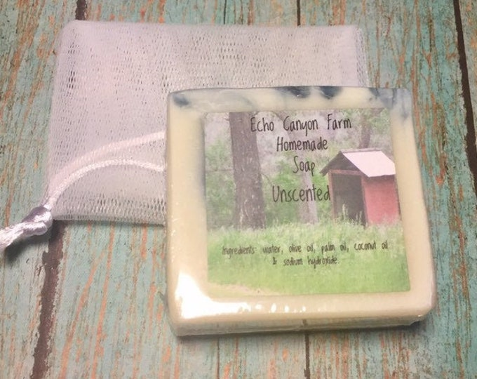 Unscented Soap with Duel Purpose Nylon Soap Saver Bubbler Bag, Cold Processed Soap, All Natural Homemade Soap, Preservative Free Soap