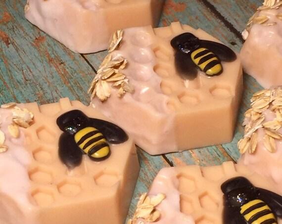 Honeycomb Bee Soap, Oatmeal Honey Soap, Honey Bee Guest Soap, Goats Milk and Honey Soap, Honey Soap