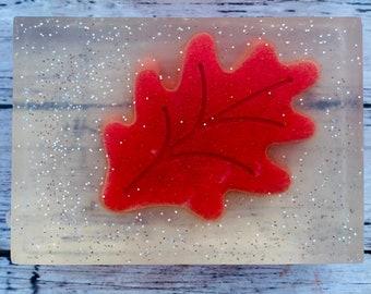 Autumn Leaf Soap, Loofah, Glycerin Soap, Fall Soap, Glycerin Glitter Soap