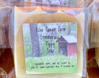 Lemongrass with Poppy Seeds Homemade Soap Bar
