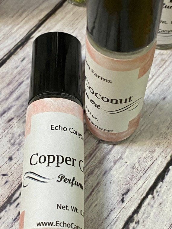 Copper Coconut Natural Roll On Perfume Oil/ Copper Coconut Perfume/ Echo Canyon Farm/ Coalinga California/Cherrie Roberts