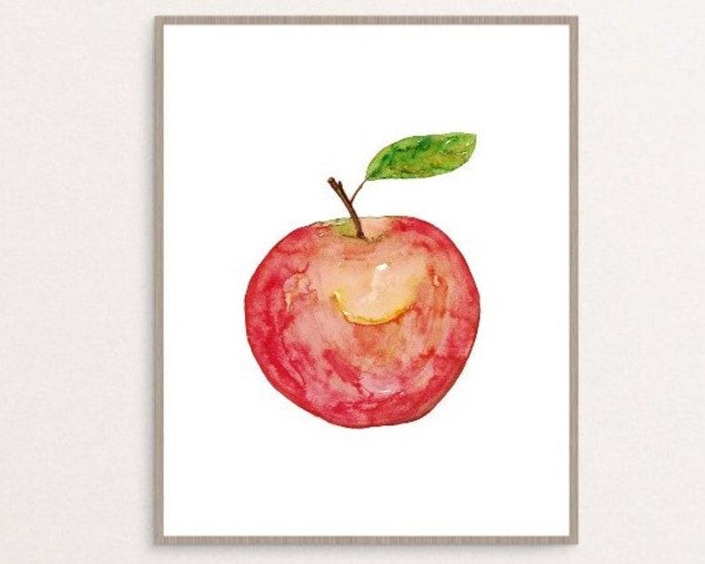 Apple Kitchen Decor Painting Kitchen Wall Art Watercolor Etsy