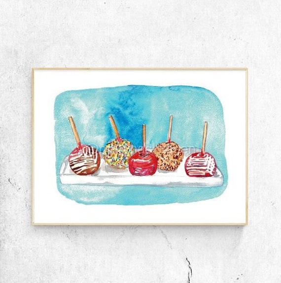 Caramel Apple Kitchen Decor Painting Wall Poster Pink Candy Etsy