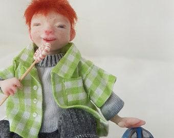 OOAK Doll, Puppe, Miniature, Baby 1:12, 7 cm, Unikat, Puppenstube