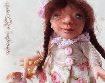 OOAK Doll, Puppe, Miniature, Baby 1:12, 10 cm, Unikat, Puppenstube