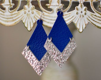 Blue and silver diamond and arrow leather earrings. Dallas Cowboys! FREE SHIPPING! Coupon code- BELLEGIVESBACK