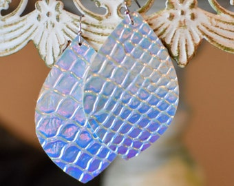 Iridescent snake skin textured earrings- FREE SHIPPING