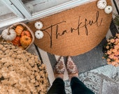 Thankful Fall Doormat | Semi-Circle Fall Welcome Mat | Fall Decor | porch decor | custom doormat | outdoor doormat | cute doormat