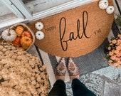Happy Fall Y'all Fall Doormat | Semi-Circle Fall Welcome Mat | Fall Decor | porch decor | custom doormat | outdoor doormat | cute doormat
