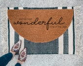 The Most Wonderful Time of the Year Doormat | Semi-Circle Christmas Welcome Mat | Holiday porch decor | Holiday doormat | outdoor doormat