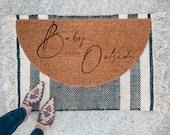 Baby its Cold Outside Doormat | Semi-Circle Christmas Welcome Mat | Holiday Decor | porch decor | Holiday doormat | outdoor doormat - 2