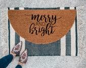 Merry and Bright Doormat | Semi-Circle Christmas Welcome Mat | Holiday Decor | Porch Decor | Holiday doormat | Outdoor Doormat