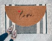 Love Doormat | Semi-Circle Valentine's Welcome Mat | Outdoor Decor | Valentine's Porch Decor | half-circle Doormat | Cute Doormat