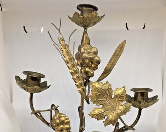 Antique Vintage Brass Cast Iron Candelabra W/ Grapes & Leaves