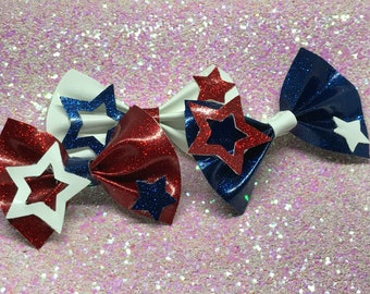 July 4th bow, 4th of July hair bow, Patriotic hair clip, patriotic barrettes