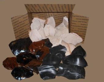 Flint Knapping Stone (Variety Sample Box 12lbs) Arrowhead Material