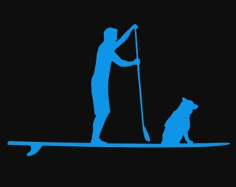 SUP Team Stand Up Paddle Boarding Vinyl Car Decal - Paddle with you pup dog
