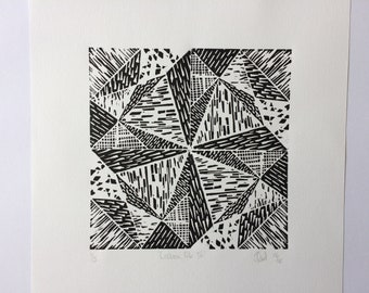 "Linocut Print ""Lisbon Tile lV'"