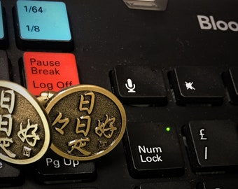 Antique Zen Lucky Cufflink- Nichi nichi kore kōnichi (日々是好日)