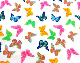 Bright Butterflies Insects Pink Yellow Blue Butterfly Gray Cotton Fabric w9//28