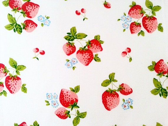 Polycotton Fabric Strawberry Floral Strawberries