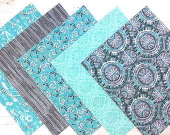 Turquoise and Grey Fat Quarter Bundle, 100% Cotton, Quilting Fabric, Craft Fabric, Cotton Fat Quarters, Quilting Material Bundle, Set of 5