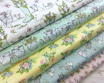 Cotton Fabric, Cat Fabric, Cat Print Cotton, Quilting Fabric, 5 Designs Collection, Kids Fabric, Fabric by the Fat Quarter/Half Metre/Yard
