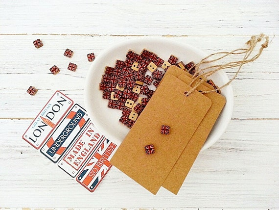 Square Union Jack Wooden Buttons  X 4   Sewing//Costume//Crafts//Scrapbooking