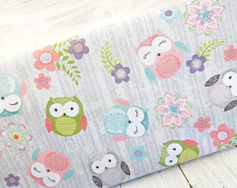 Owl Fabric, 100% Cotton, Nursery Fabric, Quilting Fabric, Cute Owls Cotton Print, Sewing and Craft Fabric by Fat Quarter/Half Metre/Metre