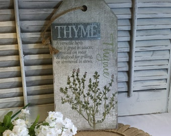 """Thyme Hanging Plaque for the home Measures 8"""" x 16"""" Tall Distressed and Burlap Hanger"""